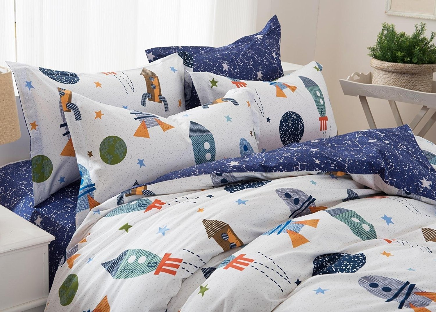 Brandream Kids Bedding Set Galaxy Space Bedding Set 100% Cotton Duvet Cover Set 3-Piece Full Size(No Comforter Included)