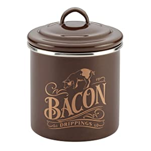"Ayesha Curry 46950 Enamel on Steel Bacon Grease Can, 4"" X 4"", Brown"