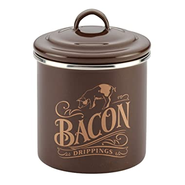 Ayesha Collection Enamel on Steel Bacon Grease Can, 4-Inch by 4-Inch, Brown Sugar