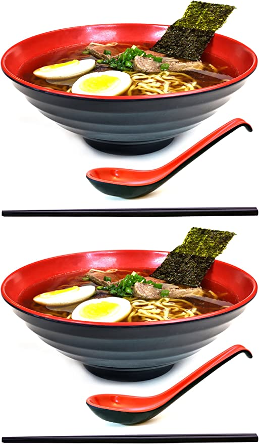 2 Sets - 1 Red 1 Green 2 Sets Free Shipping 1 G.. TWO Ramen Bowl Set 1 Red