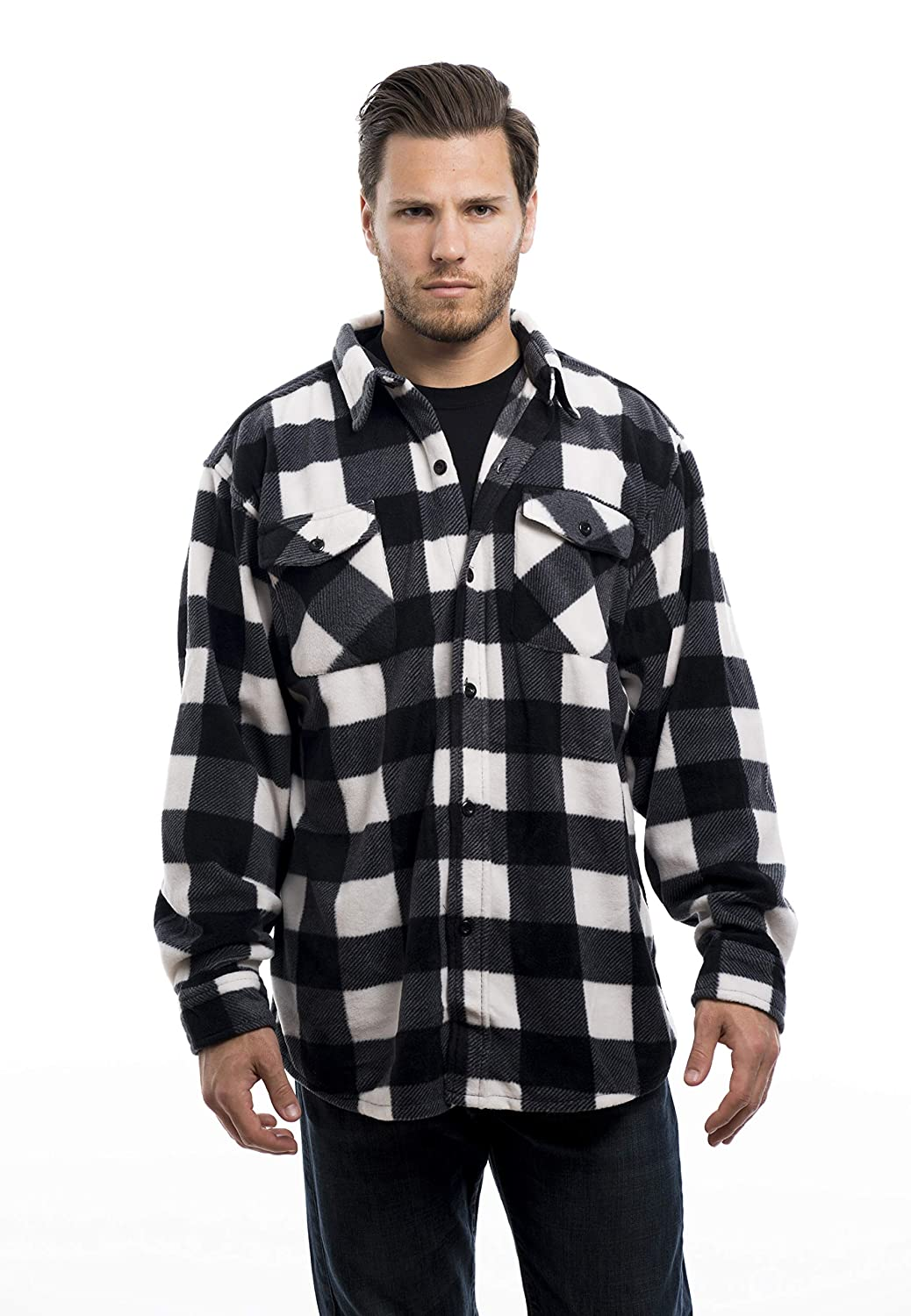 TrailCrest Men Casual Long Sleeve Plaid Checkered Shirts Button-up Fleece Sport Clothes