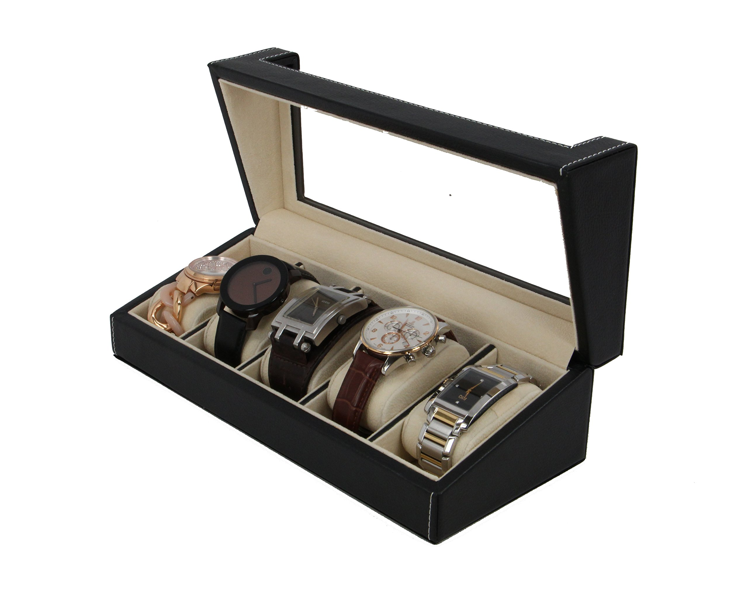 Decorebay Leather 5-slot Watch Box Display Case