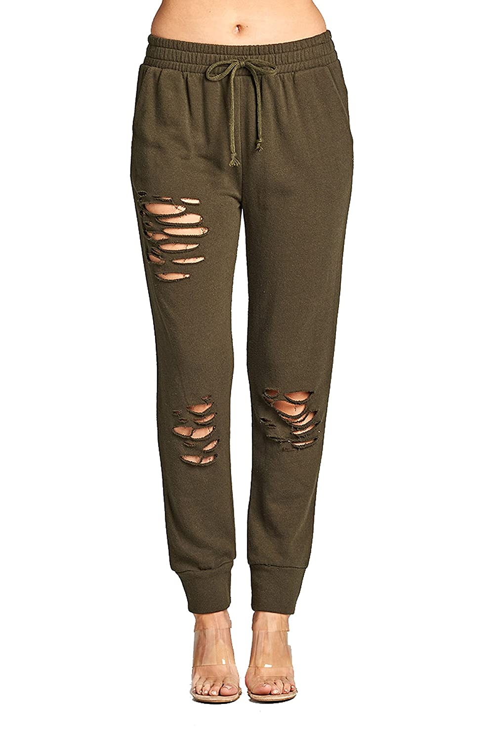 TOP LEGGING TL Women's Ripped Distressed French Terry Casual Jogger Pants Plus Size