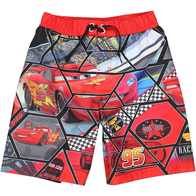 fc32bcbed2 Amazon.com: Disney Cars Boys Swim Trunks Swimwear (7, Red/Black ...