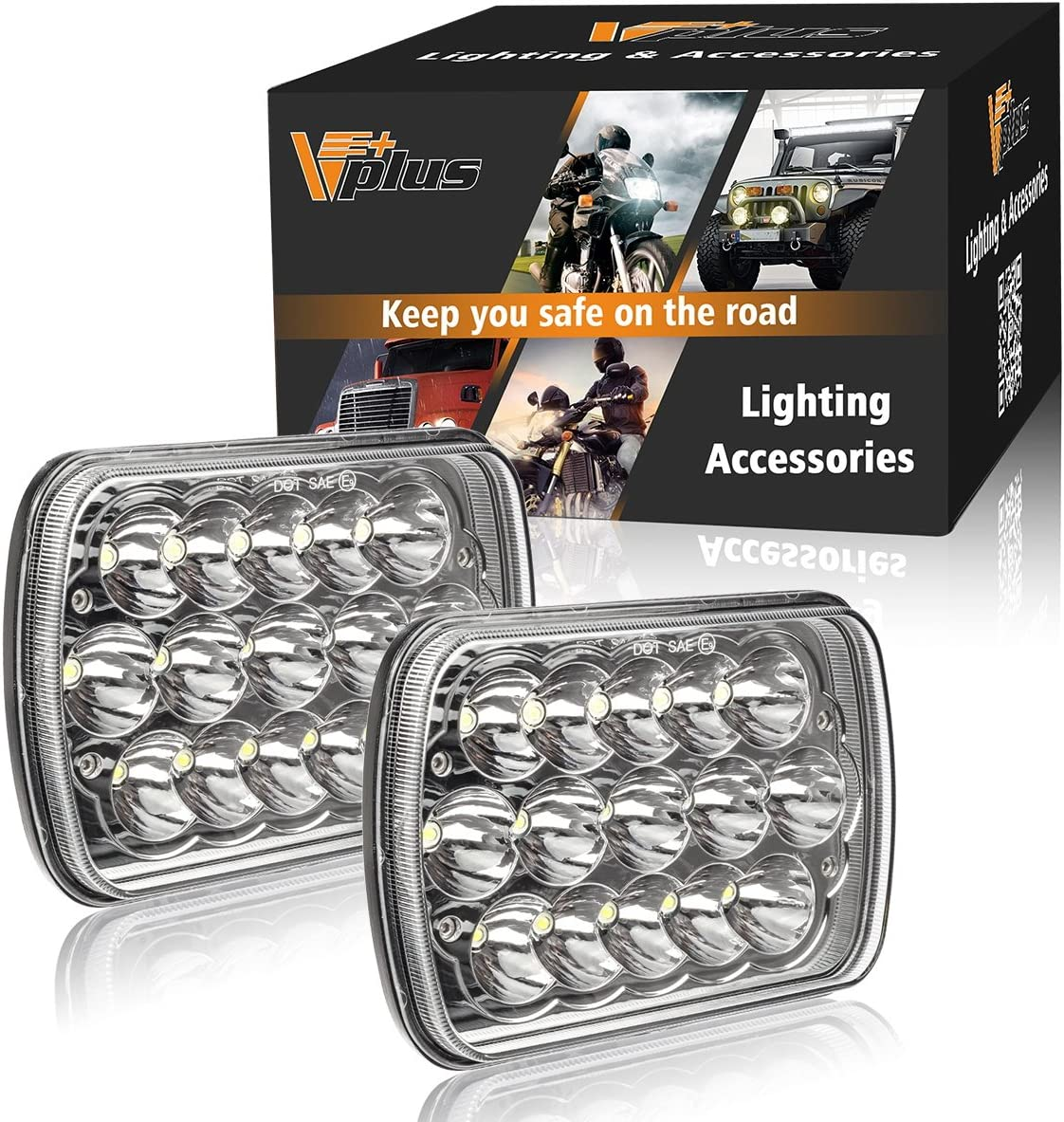 Partsam 2PCS Rectangle H6054 LED Headlights 5x7 7x6 Headlamp Hi/Low Sealed Beam H4 9003 Plug 6054 H5054 Compatible with Chevy S10 Blazer Express Van/Jeep Wrangler YJ XJ Cherokee Truck Ford Van