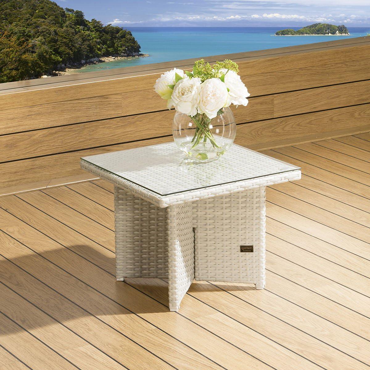 Lujo Jardín al aire libre cuadrado lateral/final mesa piedra cristal de ratán gris Top: Amazon.es: Jardín