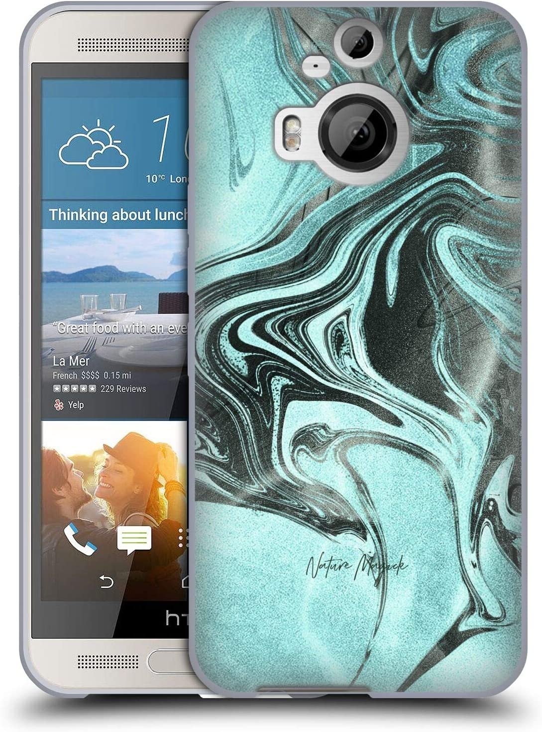 Head Case Designs Officially Licensed Nature Magick Metallic Turquoise Pretty Marble Swirl Soft Gel Case Compatible with HTC One M9+