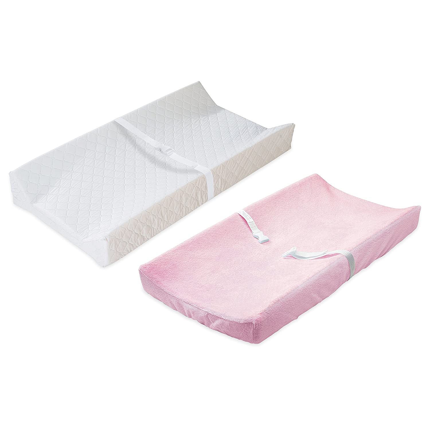 Summer Infant Contoured Changing Pad with Heavenly Soft Changing Pad Cover, White