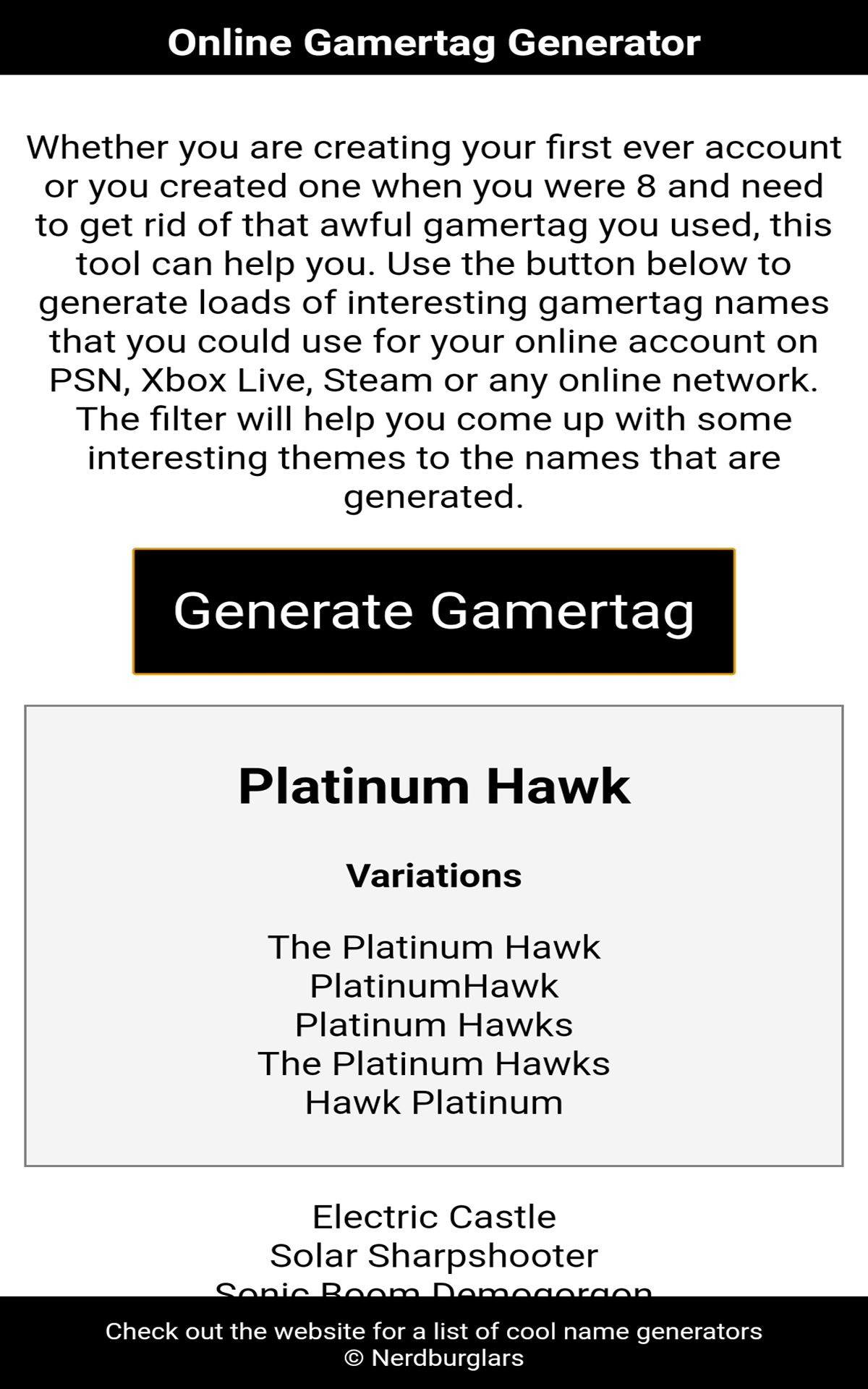 Amazon Com Online Gamertag Generator Appstore For Android