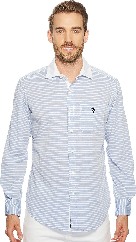 US Polo Assn. Camisa de Manga Larga con Botones Slim Fit de Rayas Oxford para Hombre