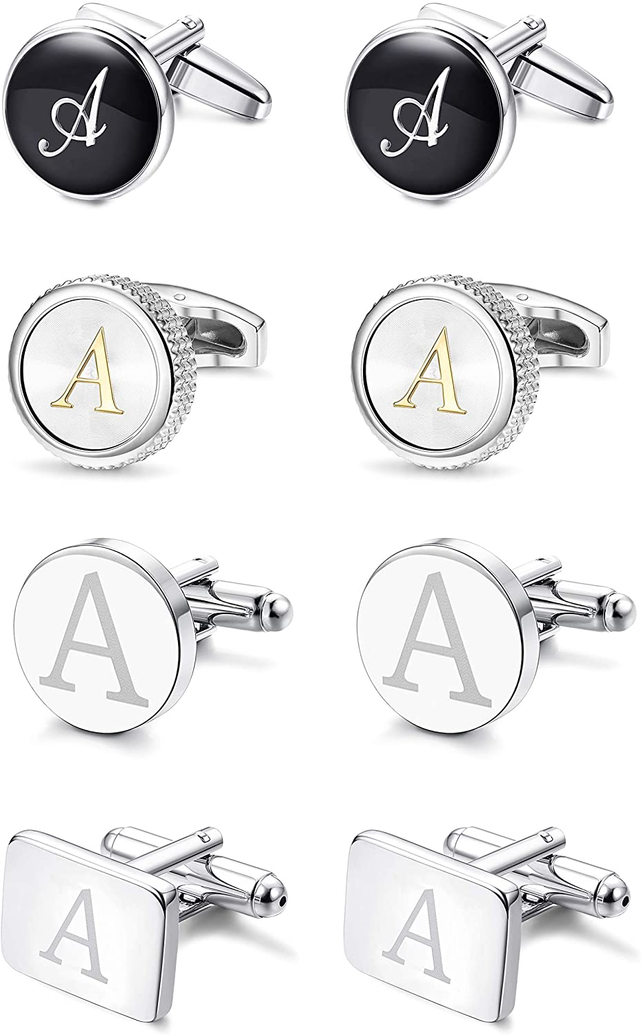 LOYALLOOK 4Pairs Men's Initial Letter Shirts Cufflinks Engraved Shirt Cufflink Alphabet Set Fashion Dazzle Tuxedo Cufflinks Business Wedding Father's DayGift