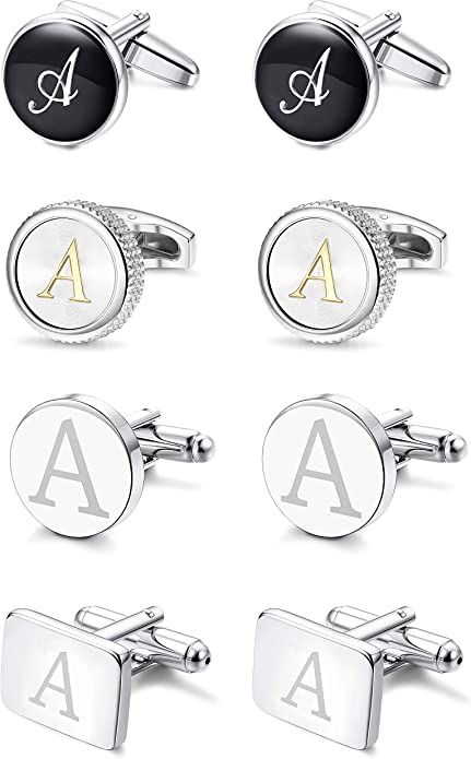3 Letters, 14 Colors Your Choice - mc3s MONOGRAMED CUFFLINKS Silver Cufflink Box Included - - Perfect Birthday or Anniversary Gift