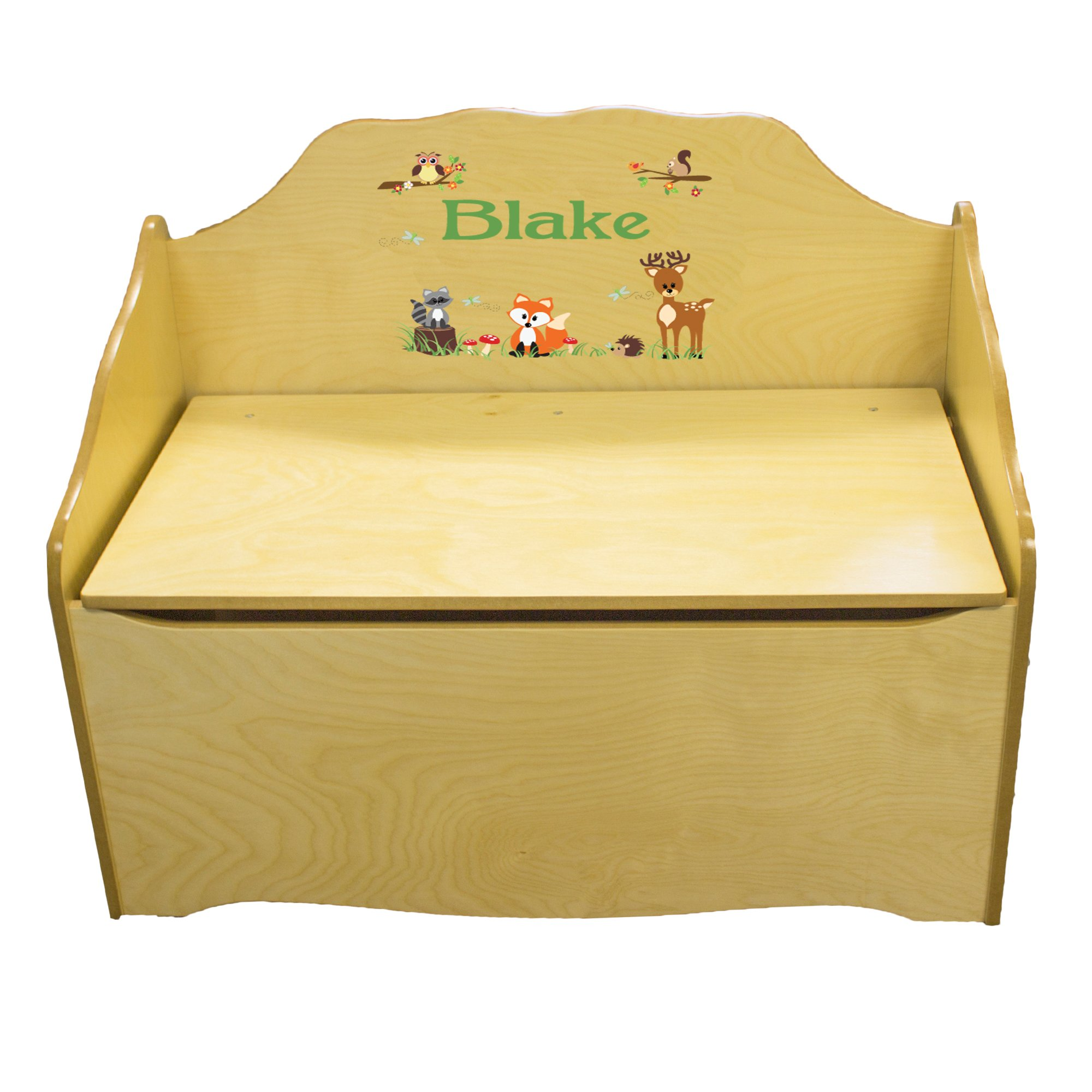 Personalized Green Forest Animal Childrens Natural Wooden Toy Chest