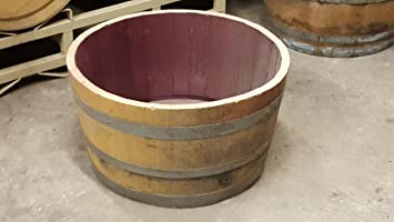 Amazon Com Genuine Oak Wood Half Wine Barrel Planter 27 W X 18 H