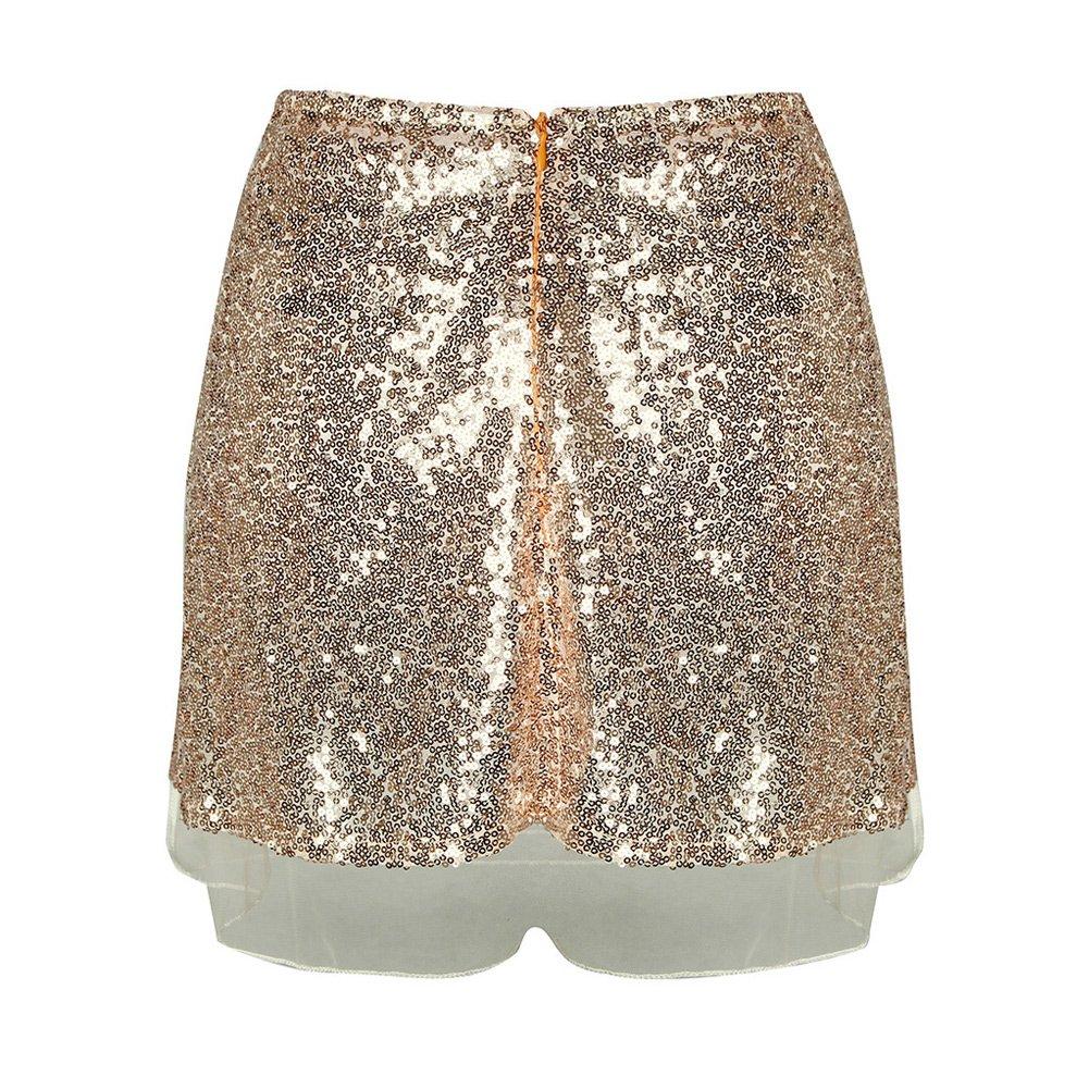 377c724d5f64 Romacci Femmes Sequin Mini Jupe Taille Haute Zip Glitter A-Ligne Jupe Courte  Or  Amazon.fr  Vêtements et accessoires
