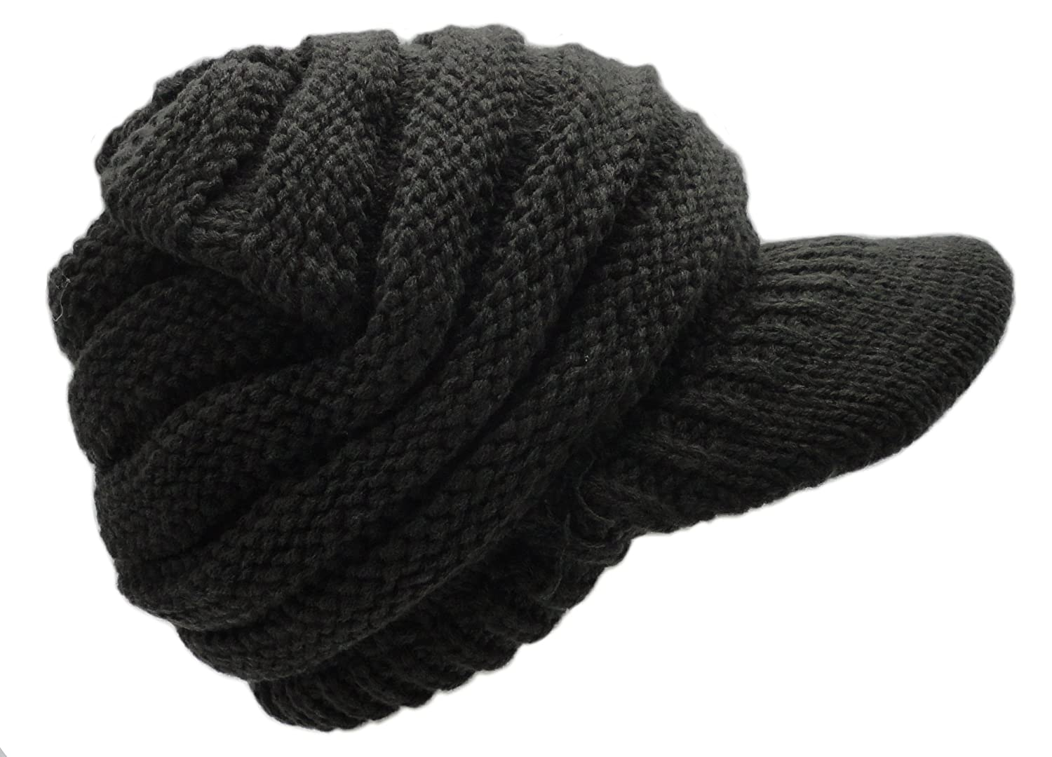 fc0a23ee2c4 ... Newsboy Floral Cable Knitted Hat with Visor Bill Winter Warm Hat for  Women ...