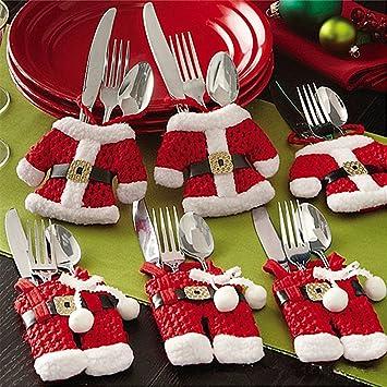ZOGIN 6 Piezas Bolsa Cubiertos Navidad Linda (Cuchillo Tenedor Cuchara) Forma de Traje de