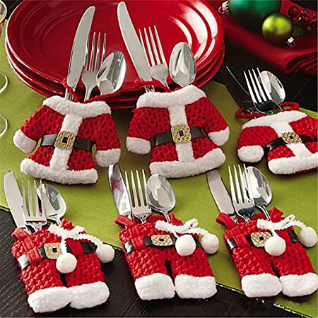 6x Christmas Cutlery Silverware Holders Pockets Knifes Forks Bag Santa Suit Xmas Party Dinner Table Decoration