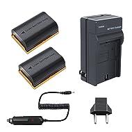 Bonacell 2 PCs Replacement Canon LP-E6 Battery and Charger Kit for Canon EOS R, 80D, 60D, 60Da, EOS 70D, EOS 5D Mark II/III/IV, EOS 5DS, EOS 5DS R, EOS 6D, 6D Mark II, EOS 7D, 7D Mark II Camera