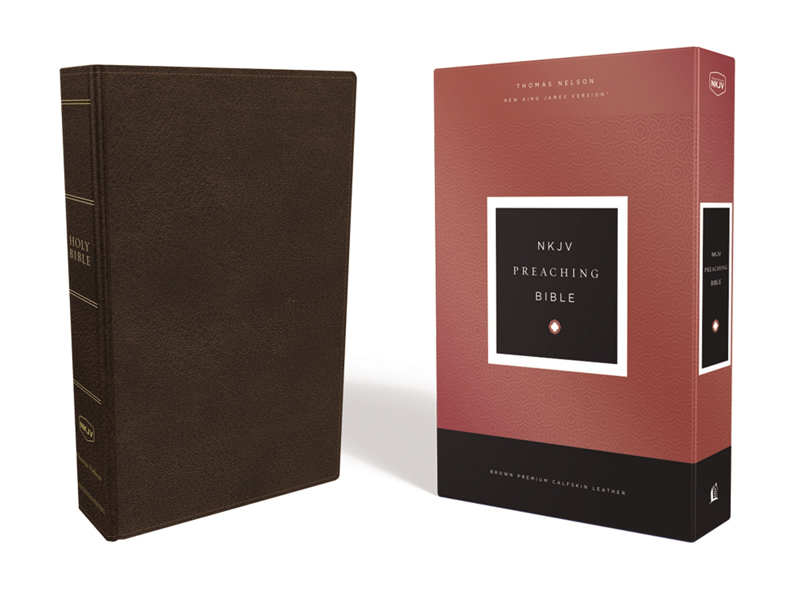 NKJV, Preaching Bible, Premium Calfskin Leather, Brown, Comfort Print: Holy Bible, New King James Version by HarperCollins Christian Pub.