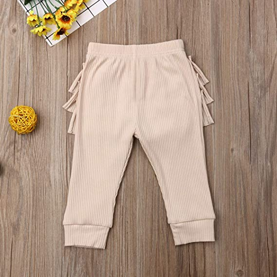 Greetuny Cotton Leggings for Baby Girls 0-3 Years Ruffle Long Pants Comfortable Knitting Trousers Elasticity Bottoms Casual Tights for Girls