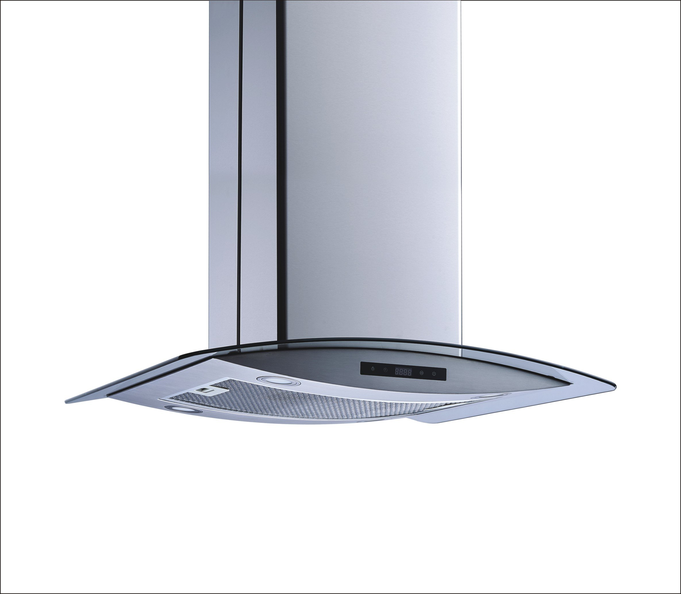 Winflo 36'' Island Stainless Steel/Arched Tempered Glass Ducted/Ductless Kitchen Range Hood with 450 CFM Air Flow LED Display Touch Control Included Dishwasher-Safe Aluminum Filter and 4x2W LED Lights by Winflo (Image #5)