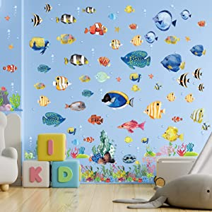 6 Sheets Under The Sea Fish Wall Sticker Watercolor Ocean Jellyfish Wall Decor Creature Seaweed Removable Peel and Stick Wall Decals for Kids Room Nursery Bedroom Playroom