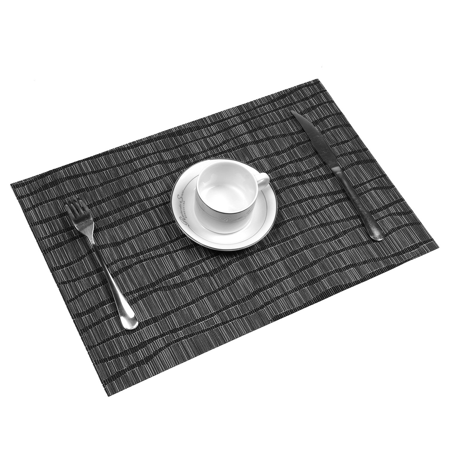 Topotdor Placemats set of 6 PVC Non-slip Insulation Stain-resistant vertical stripes Placemats for Home, Kitchen,Office and Outdoor (Set of 6, Black) by Topotdor (Image #3)