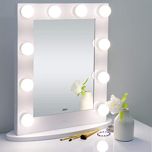 ZENY Hollywood Makeup Vanity Mirror with Light, Wall Mounted Lighting Mirror with Dimmable Bulbs, Bedroom Lighted Standing Mirror with Dimmer, LED Cosmetic Mirror