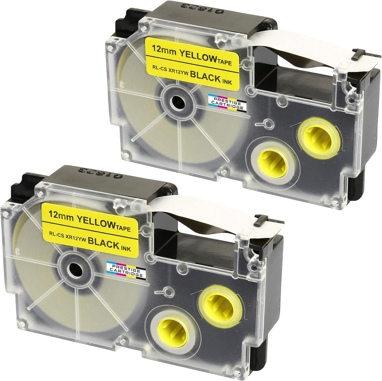 Cassette XR-12YW XR-12YW1 nero su giallo 12mm x 8m Nastro compatibile per Etichettatrice Casio/KL-60 KL-100 KL-120 KL-200 KL-300 KL-750 KL-780 KL-820 KL-2000 KL-7000 KL-7200 KL-8100 KL-8200 CW-L300