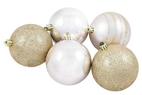 2a3679c3afc98 Bolas de Navidad Doradas. Tubo de 5 Bolas de Color Oro Brillante de  Plástico de