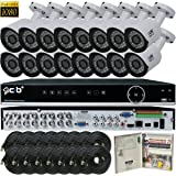 CIB Security H80P16K2T56W-16KIT 16CH 1080P Video Security DVR, 2TB HDD & 16x2.1-MP 1920TVL Night Vision Camera, White