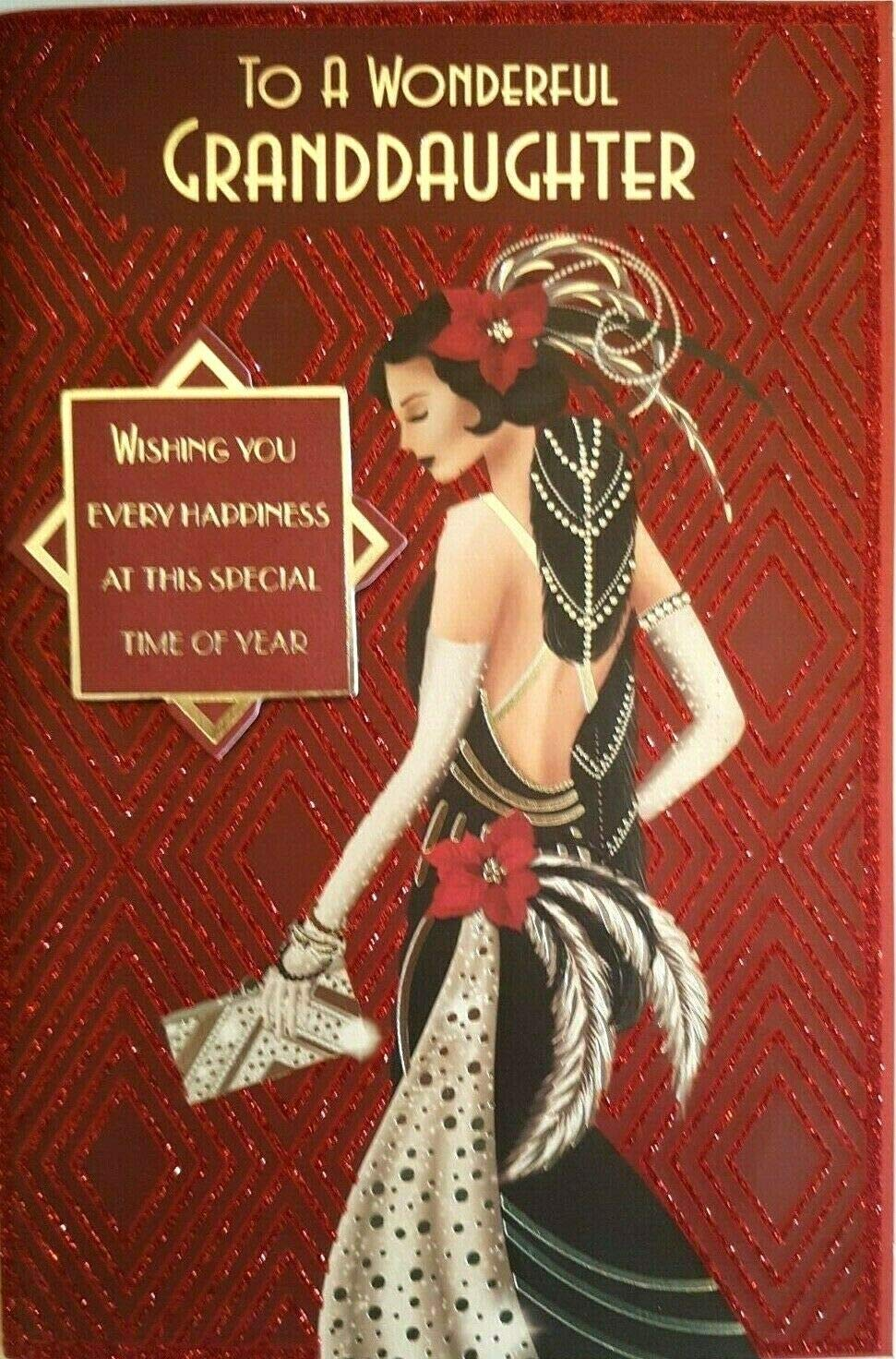 Glittered Christmas Card Wonderful Granddaughter Prelude Art Deco