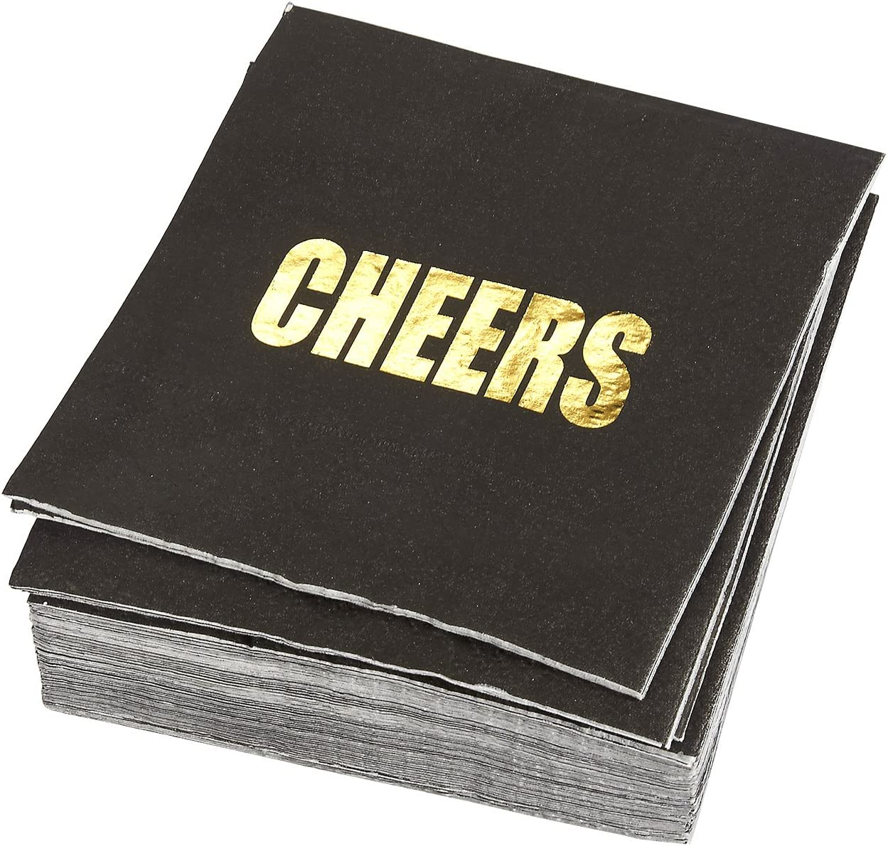 Cheers Party Supplies, Black Paper Napkins (5 x 5 In, Gold Foil, 50 Pack)