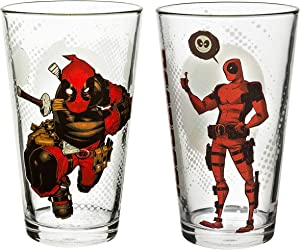 Zak Designs Marvel Comics Pint Glasses, 16oz 2 Piece, Deadpool