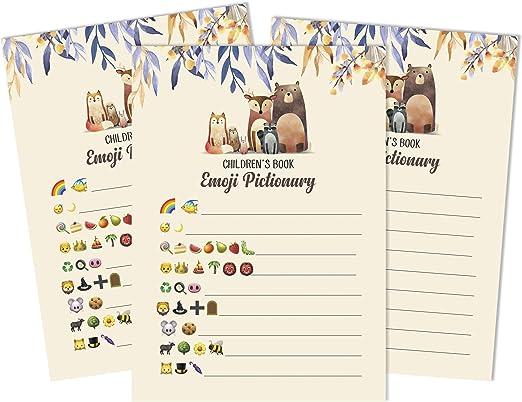 Inkdotpot Un Conjunto De 50 Libros para Niños Bebé Ducha Pictionary Juego De Mesa Idea De Género Hojas Neutras Y Animales De Fiesta Divertidos Juegos De Baby Shower: Amazon.es: Hogar