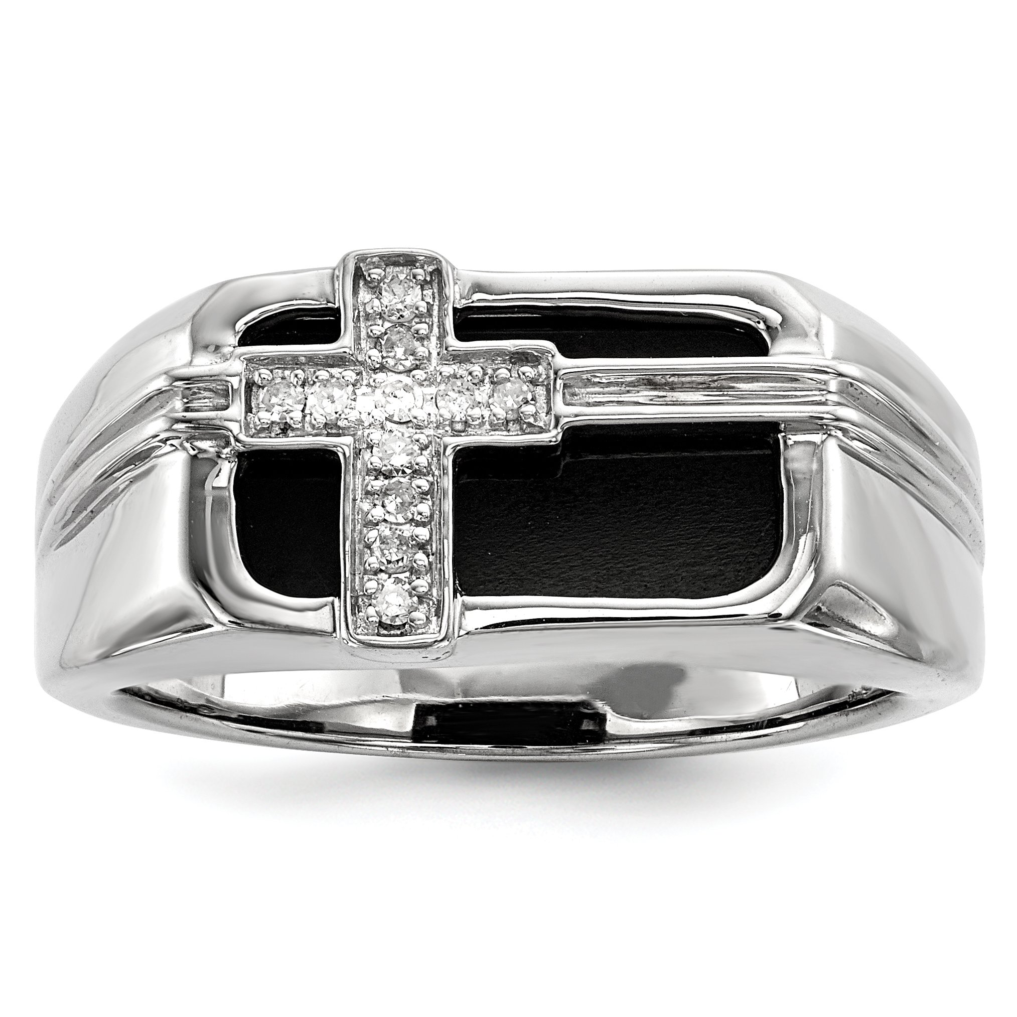 ICE CARATS 925 Sterling Silver Diamond Black Onyx Cross Religious Mens Band Ring Size 10.00 Man Fine Jewelry Dad Mens Gift Set
