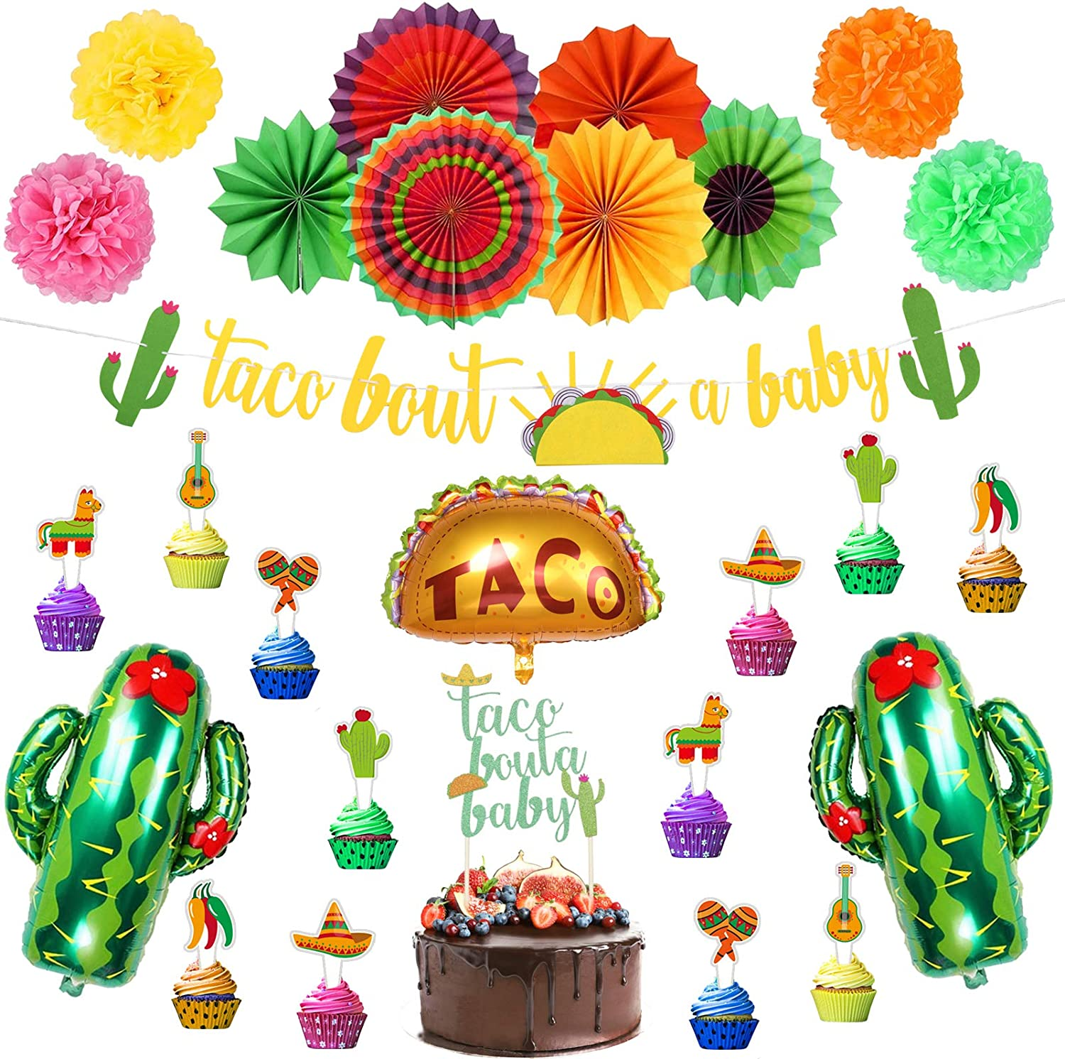 Ayamuba Taco Bout a Baby Decoration,Mexican Birthday Party Decoration with Fiesta Paper Fans, Taco Bout a Baby Banner, Cactus Balloons for Fiesta Baby Shower Decoration, Wedding Décor