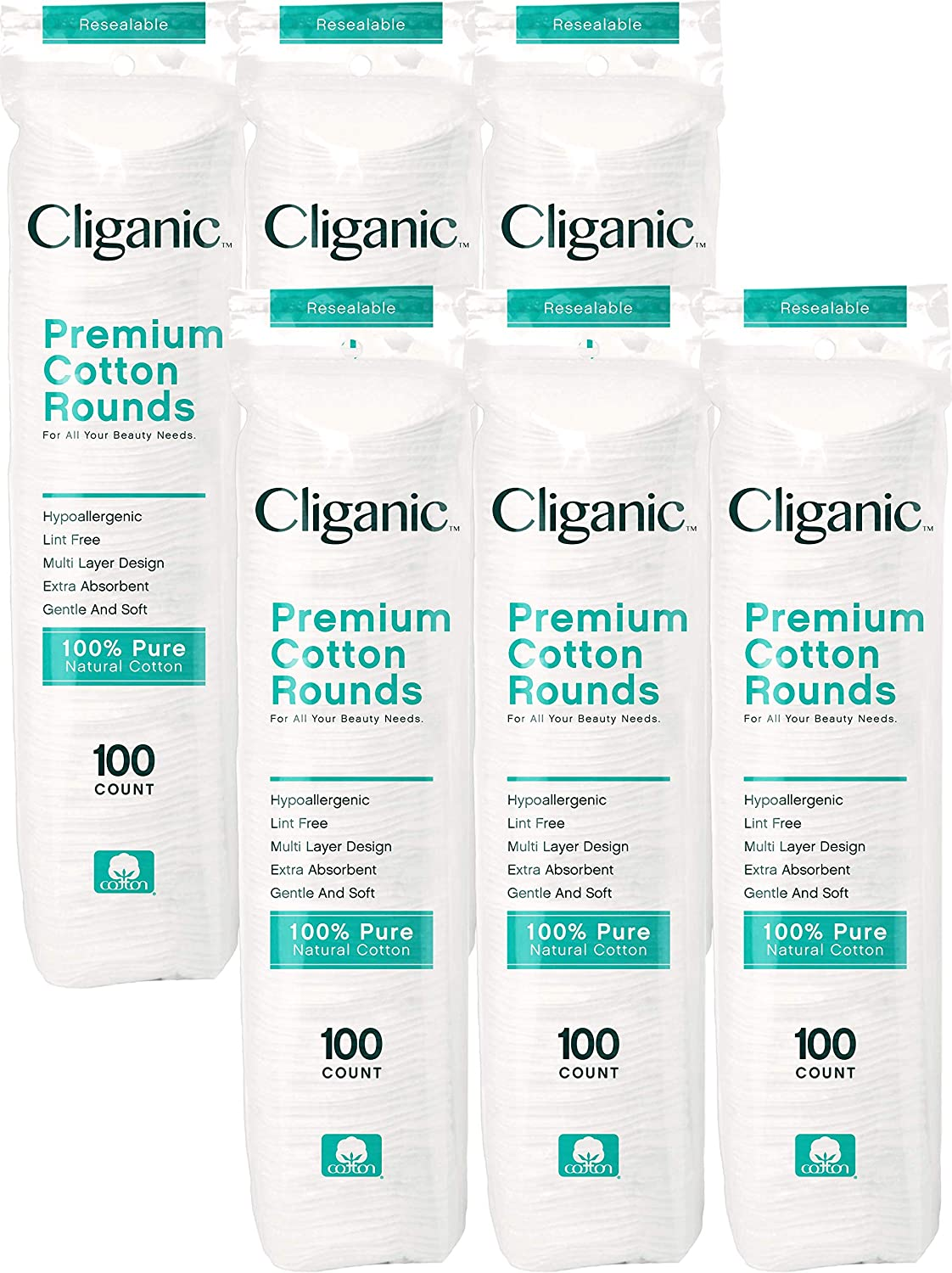 Cliganic Premium Cotton Rounds for Face 600 Count  Makeup Remover Pads Hypoallergenic LintFree  100