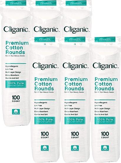 Amazon.com: Cliganic - Almohadillas de algodón premium para ...