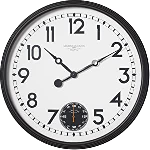 """Studio Designs Home 73011 Terrace Large Wall Clock with Subdial for Seconds, W x 29"""" H x 3.5"""" D, Black/White Face, 29"""" W x 29"""" H x"""