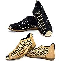 Ziaula Womens London Cutouts Flat Sandal Combo Pack