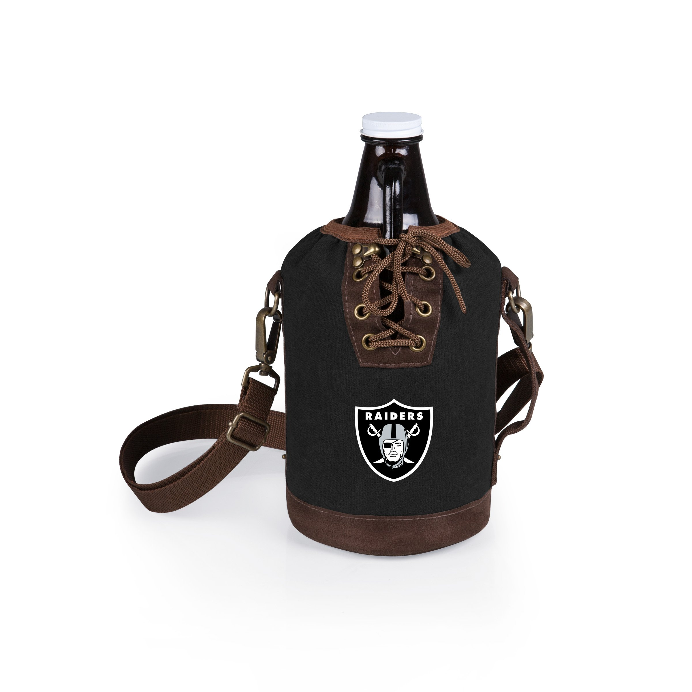PICNIC TIME NFL Oakland Raiders Canvas Lace-up Growler Tote with 64 oz Amber Glass Growler, Black