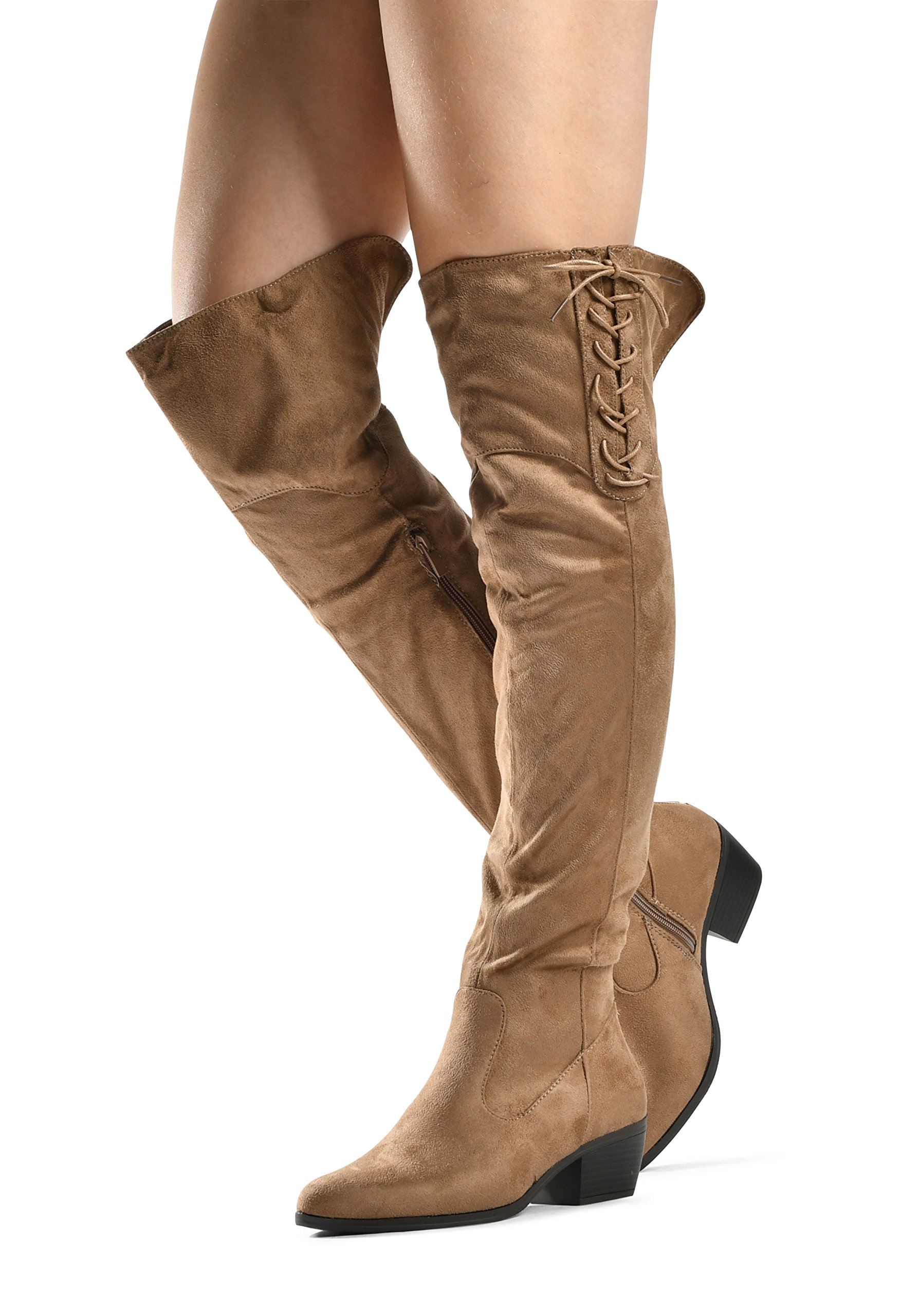 LUSTHAVE Women's Over The Knee Stacked Chunky Low Heel Caroline Lace up Almond Toe High Tall Boots by Taupe 6