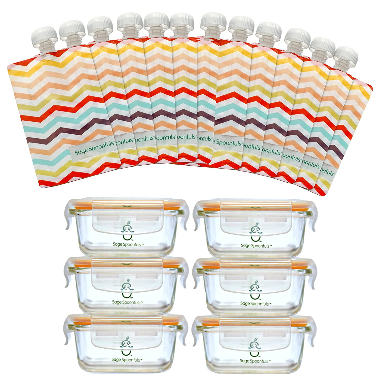 Sage Spoonfuls Glass Baby Food Jar and Reusable Baby Food Pouch Set - 6-Pack of 4oz Baby Food Jars and 12 Pouches - BPA, Lead, Phthalate, PVC-Free