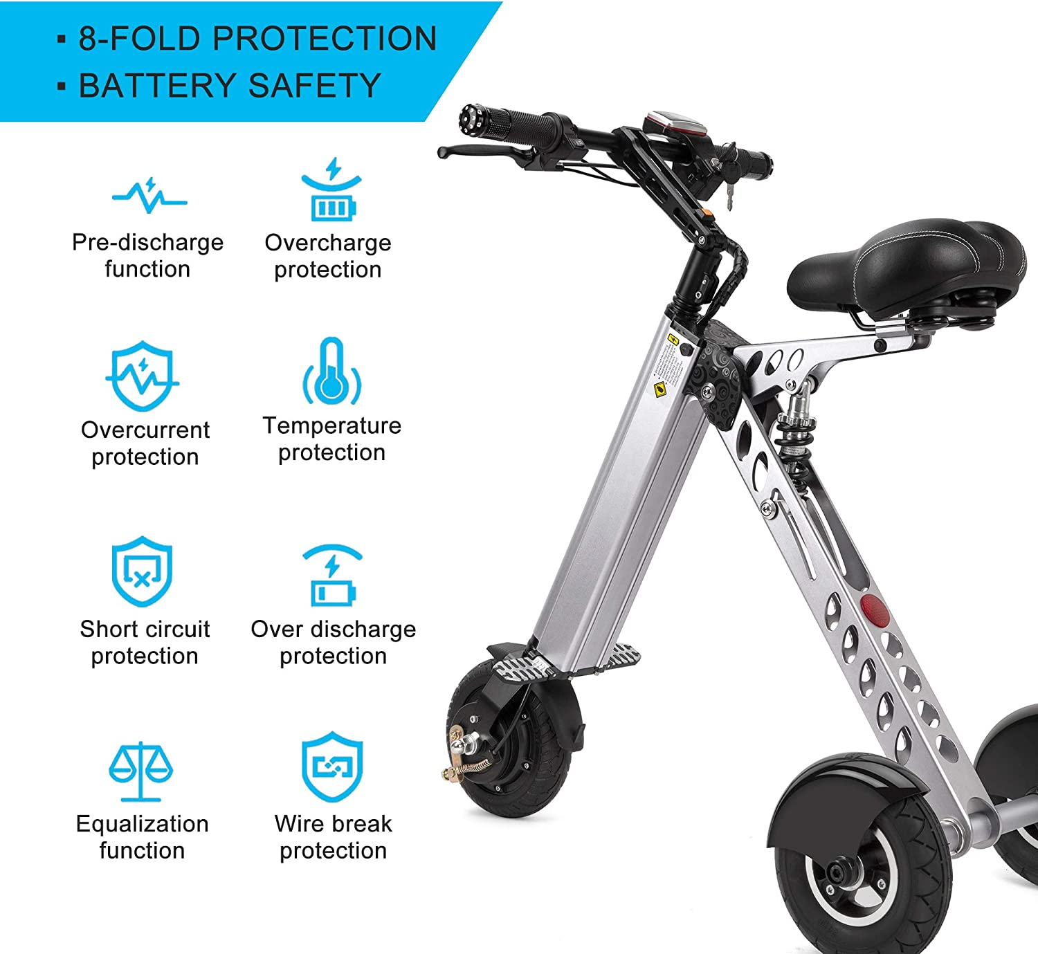 TopMate ES30 Electric Scooter Mini Foldable Tricycle Weight 14KG with 3 Gears Speed Limit 6-12-20KM/H | Full Charge 30KM Range | Especially Suitable ...