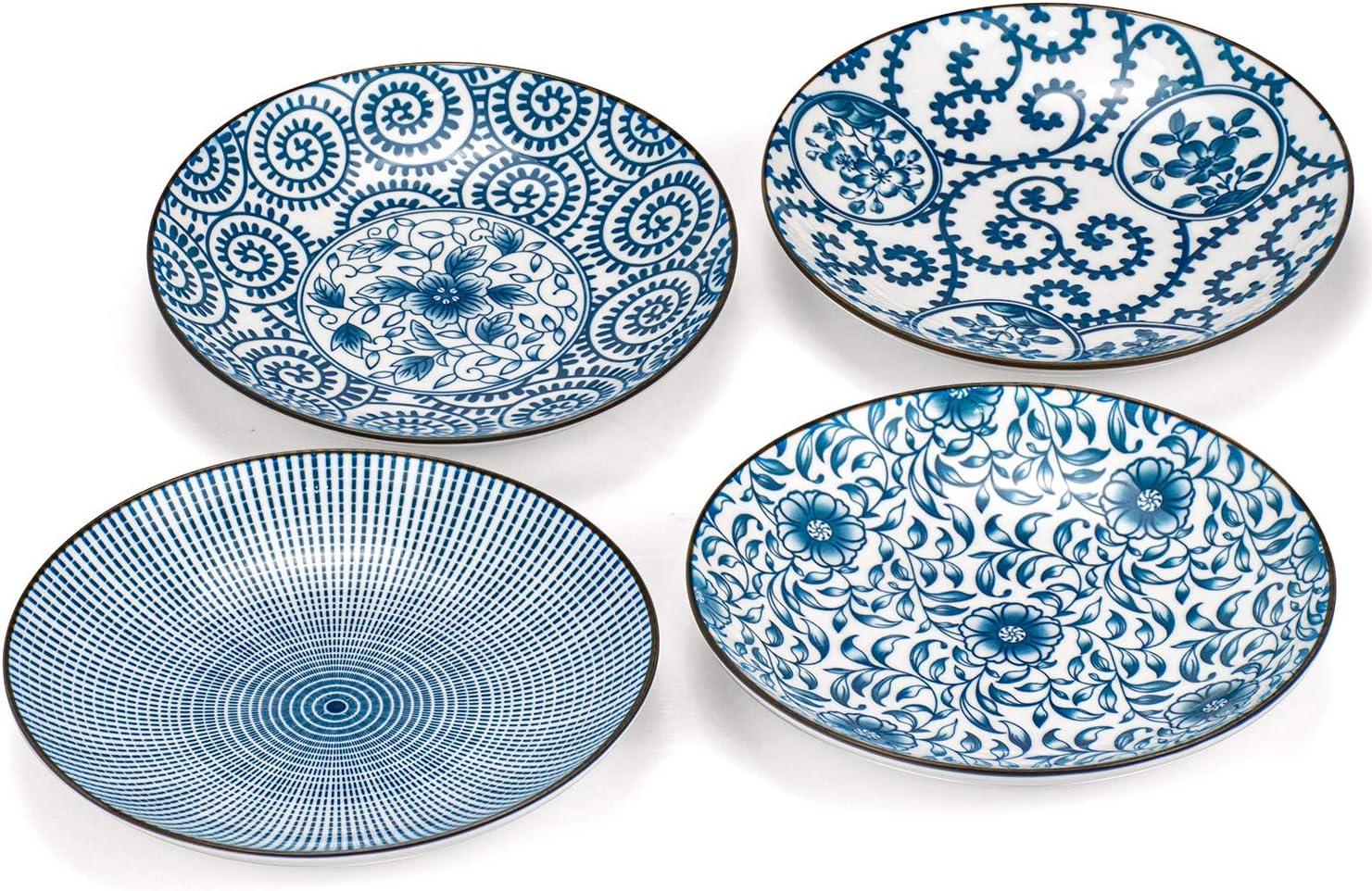 Foraineam Set of 4 Blue and White Porcelain Serving Plates Floral Dinner Shallow Plates Appetizer Salad Dessert Snack Plate Set