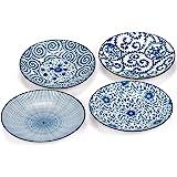 Foraineam Set of 4 Blue and White Porcelain Serving Plates Floral Dinner Shallow Plates Appetizer Salad Dessert Snack…