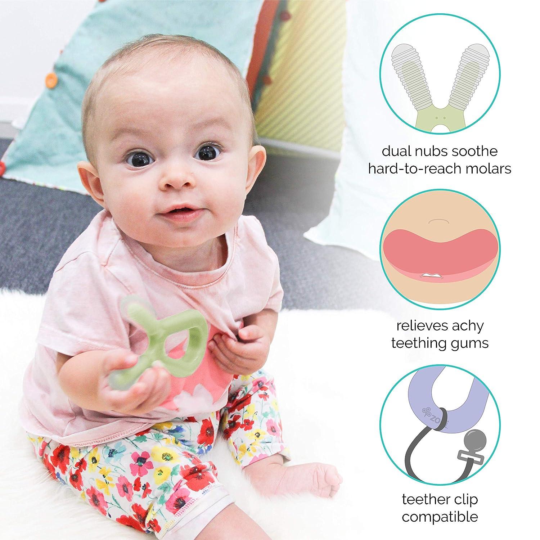 2 Pack Baby Teething Relief ZoLi Bunny Dual nub teether BPA Free Teething Toy Blue // Grey