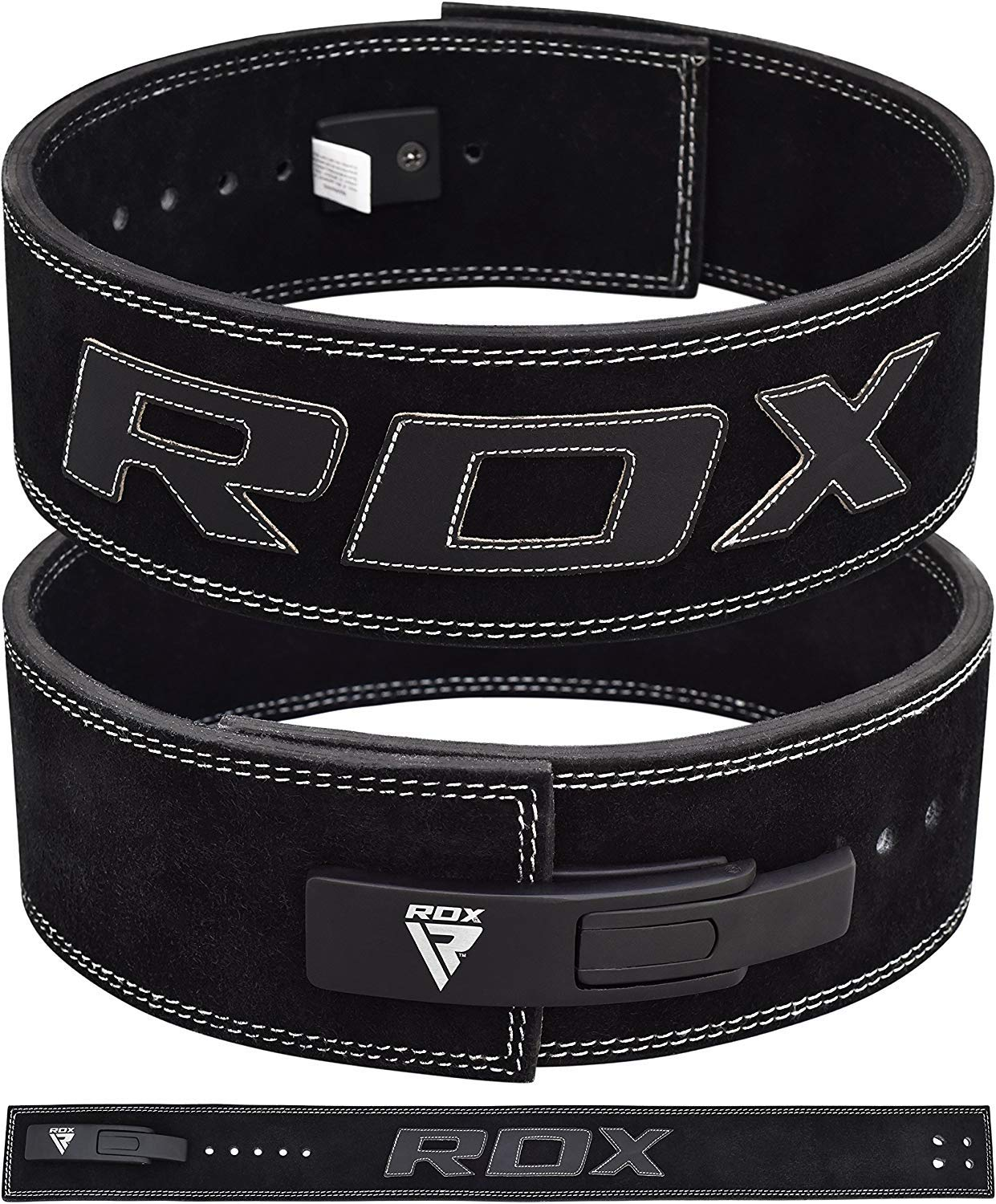 "RDX Weight Lifting 4/"" Nubuck Leather Belt Back Support Strap Gym Training Power"